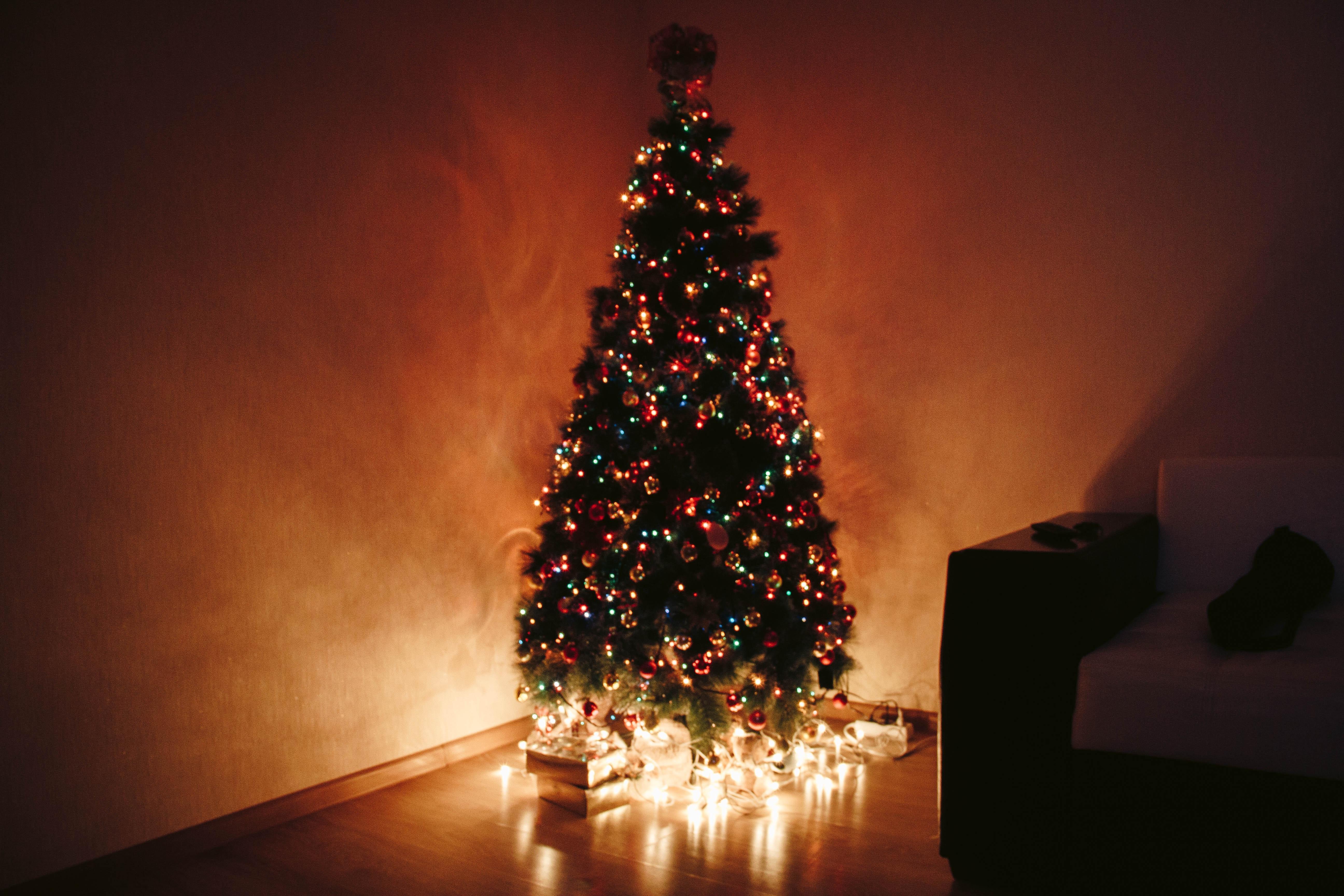 Christmas tree with candles and Christmas lights